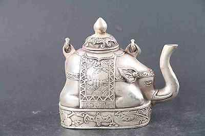 chinese old copper plating silver carved elephant teapot DAQING mark d02