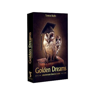 """Lenormand Oracle deck """"Golden Dreams """" 44 cards & guidebook."""