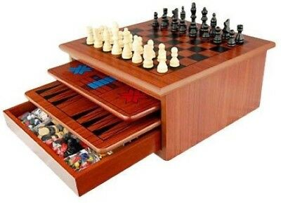 Brand New 10 in 1 Wooden Chess Board Games Slide Out Checkers House Unit Set