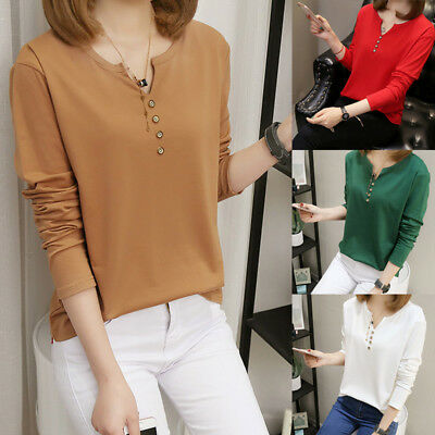 Women Autumn Spring Long Sleeve Tops T-shirt Solid Color Button Loose Blouse