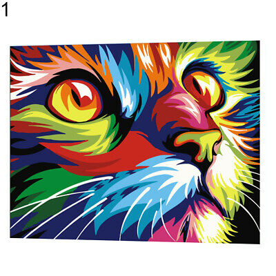 Colorful Cat Animals DIY Digital Acrylic Oil Painting Paint By Number Kit Canvas