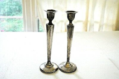 """10"""" Tall Crown Sterling Silver Candlestick Holder  Weighted Vintage"""