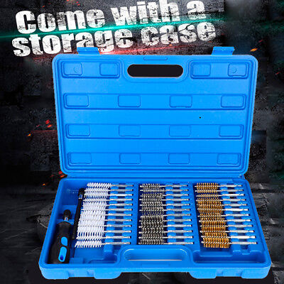 """38pcs Wire Brush Set 1/4"""" Hex Shank Long Reach Cleaning & Decarbon Brush Kits"""