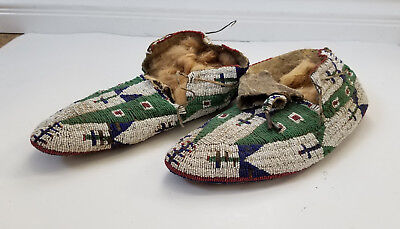 """RARE EARLY 1900's PLAINS INDIAN NATIVE AMERICAN BEADED MOCCASINS - 10"""" LONG"""