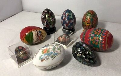 Vintage Lot of Decorative Collectible Eggs Chinese Russian