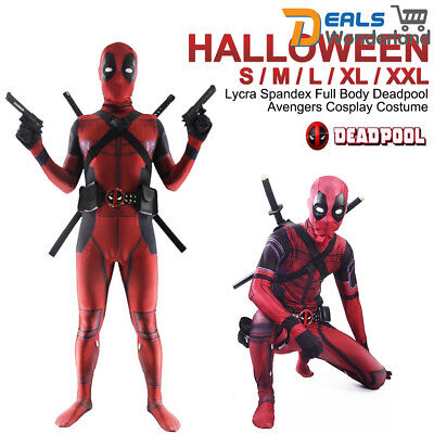Full Body Deadpool Avengers Cosplay Costume Lycra Spandex Halloween