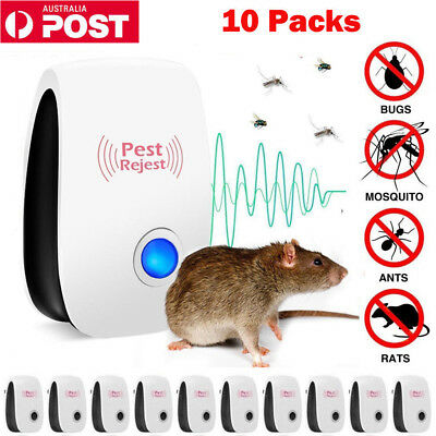 10 Pest Repeller Reject Ultrasonic Electronic Mouse Rat Mosquito Insect Control