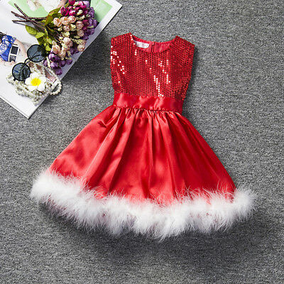 Baby Girls Kids Paillette Tutu Dresses Christmas Party Summer Dress Xmas Gift