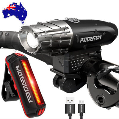 NEW USB Rechargeable Warning Bicycle Light LED Waterproof Front Rear Tail Lamp