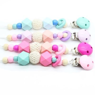 UK Baby Wooden Soother Silicone Holder Chew Pacifier Clip Teething Dummy