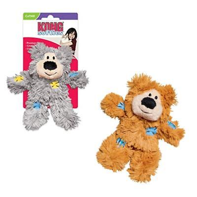 KONG Cat SOFTIES BEAR Plush Patchwork Catnip Kitten Crinkle Interactive Play Toy