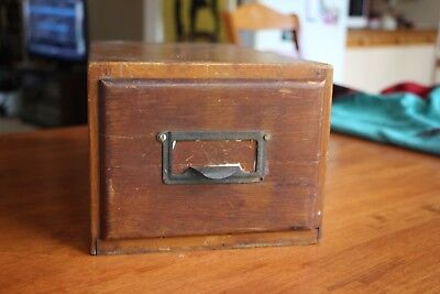 Vintage Small Wooden Filing Box