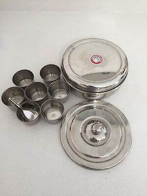 Old Rare Vintage R M Coil Asian Indian Tiffin Spice Metal Container 7 Pot Set