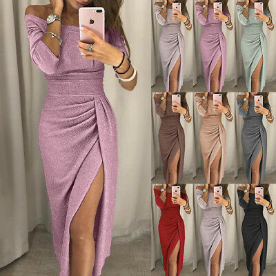 UK Womens Ladies Off Shoulder Long Sleeve Evening Party Split Long Maxi Dress