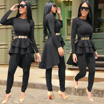 Women Long Sleeve Ruffled Casual Club Party Bodycon Long Pants Suit Jumpsuit 2pc