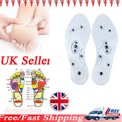 UK Magnetic Massage Shoe Insoles Gel Pad Therapy Acupressure Foot Care Cushion