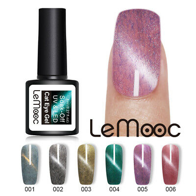 LEMOOC 8ml Fur Cat Eye Gel Polish Nail Art Winter Purple Soak Off UV Gel Varnish