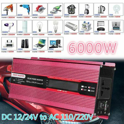 6000W Car Power Inverter DC 12V/24V to AC 110V/220V Modified Sine Wave Converter