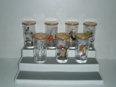 G114  7 Diff. IXL Looney Tunes Glasses with Lids 1997