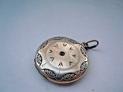 RARE Antique Russian 84 Silver Locket Pendant with Ruby Faberge design 195-17th
