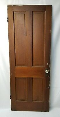 "Antique Four Panel Wood Door with Glass Knobs 78.5"" x 30"""