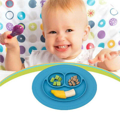 Colorful Baby Silicone Placemat Suction Plates One-Piece Feeding Dishes Bowl CHH