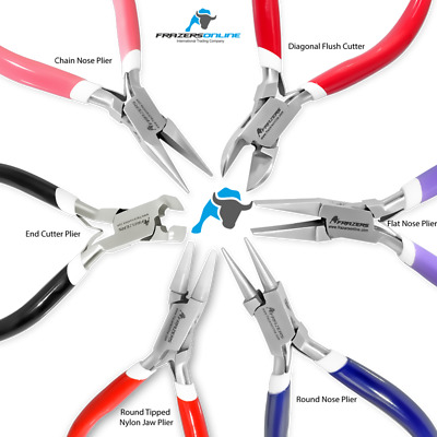 Set of 6 Chain, Round & Fat Nose, Flush & End Cutter, Nylon Jaw Pliers Jewellery