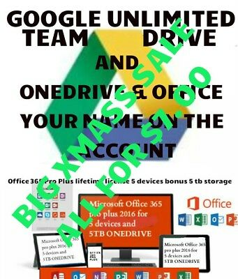 teamdrive a gift one drive of 365 Work On 5 devices account With you name on it