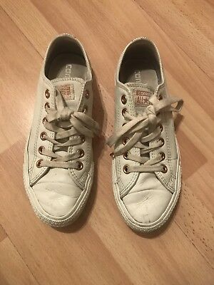 Unisex Converse Low Cream Leather Plimsoll Skater Sk8 Pumps Trainers Size Uk 5