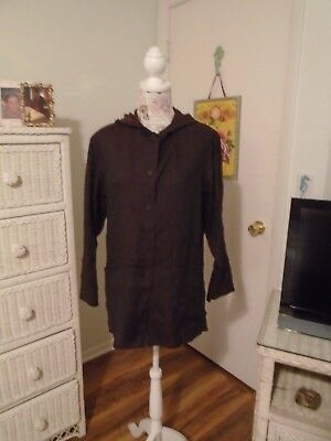 NEIMAN MARCUS 2 Piece Pants and Tunic Top Set Pre-owned Brown & Black Linen