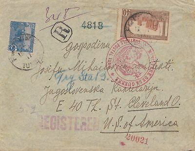 French colonies Tunisie 1917: Registered censorship to USA