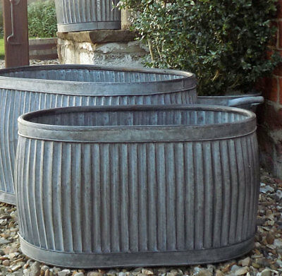 Medium vintage style galvanised metal grey oval dolly tub garden planter pot