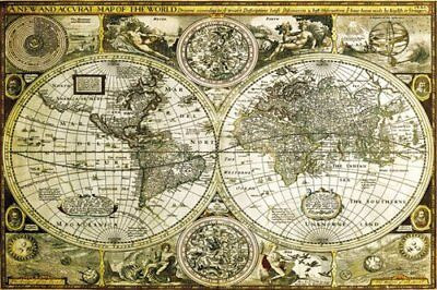 World Map Historical Educational Maps Maxi Poster Print 61x91.5cm | 24x36 inches