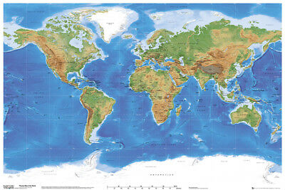Planetary Vision Physical World Map Educational Maps Maxi Poster Print 61x91.5cm