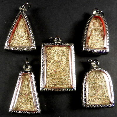 Sarira Phra That Multi Colour Relic Benjapakee Set Of 5 Buddha Amulets + Stupa