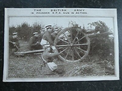 WW1 Postcard The British Army 18 Pounder R.F.A. Gun In Action