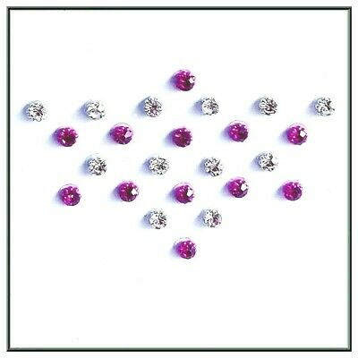 Add On 24 Hot Pink & Silver Gems for Hands Eyes Face or Body Art Adhesive (3mm)