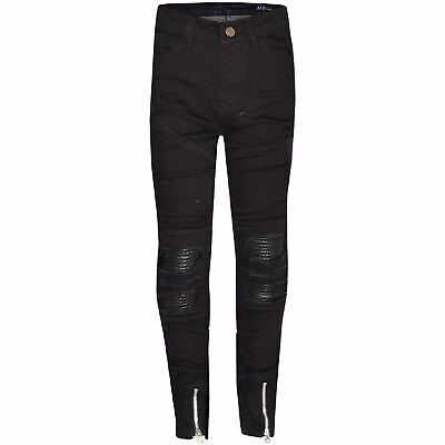 Kids Boys Stretchy Jeans Jet Black Ripped Denim Skinny Pants Trousers 5-13 Years
