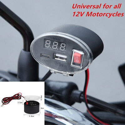 3-12V Waterproof USB Motorcycle Handlebar Charger Socket w/ Switch & Mounts Sale