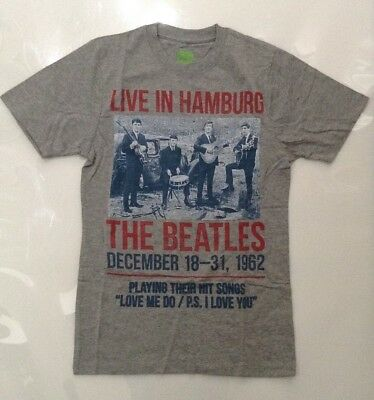 The Beatles Men's Live In Hamburg Grey T-shirt Small