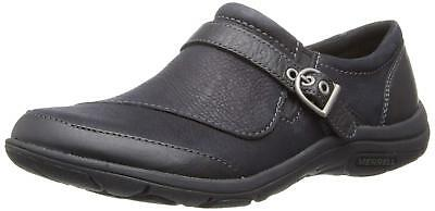 Merrell Womens Dassie Buckle Slip-On Shoe,Black,7.5 M US