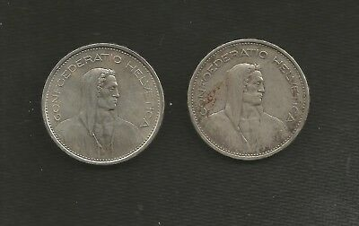 Two SILVER Switzerland KM40 1931 & 1966