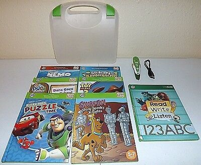 Lot of 7 Leap Frog Leap Tag Reader Books and Green Pen with Carrying Case