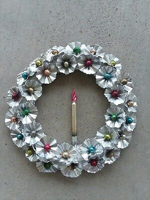 Vintage Old CHRISTMAS Silver Aluminum and Mercury Glass Candle WREATH Decor