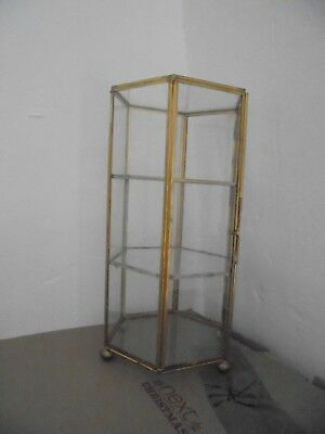 A Beautiful 8 Sided Glass And Brass  Display  Case / Box