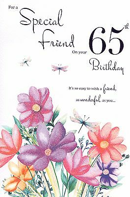 65th FRIEND BIRTHDAY CARD AGE 65 FLORAL DESIGN QUALITY WITH NICE VERSE