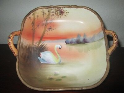 Antique Meiji Period Nippon Candy Dish, Moriage, Handles