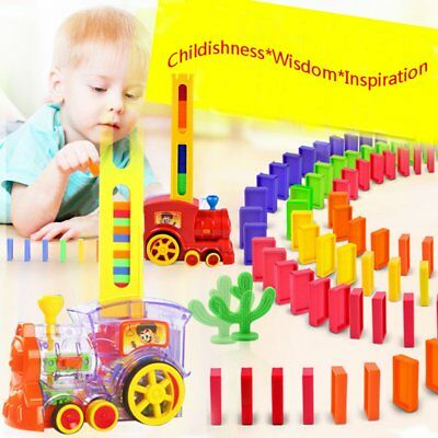 60pcs/Set Domino Train Toy Car Truck Vehicle with Lights Sound for Kids Child