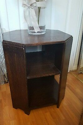 antique heavy solid wood brown vintage  shelf unit