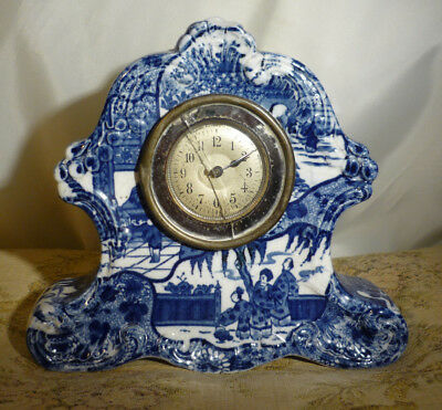 Antique Delft Style Blue & White Porcelain Chinoiserie Mantle Clock Makers Mark